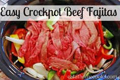 Making this in the Burke kitchen right now, smells amazing - Easy Crockpot Beef Fajitas