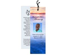 Funeral Bookmark Template: Dusk lovely landscape, add your own photo, if desired and text.