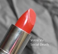 """In her review, Misty Ewing for My Beauty Bunny calls Vu's French Kiss lipstick in Social Death """"the perfect red lip for any occasion.""""  Richly pigmented, comfortable and creamy with the perfect amount of shine, the shade covered her lips completely in two swipes with no travelling or creasing.  Votre Vu Moisture Riche Lipstick in Social Death - Swatches and Review"""