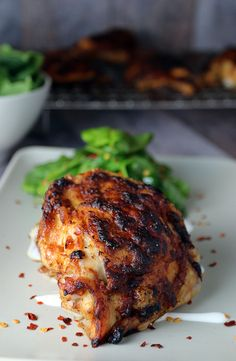"Grab yourself a bite of these Oven ""Grilled"" Asian Chicken Thighs and see what you've been missing! Shared via http://www.ruled.me/"