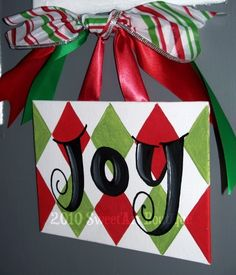 Holiday Christmas Joy red green white black diamond harlequin door sign hand painted painting art  decor ornament gift. $12.00, via Etsy.