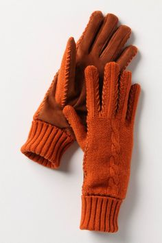 Persimmon color #knit gloves