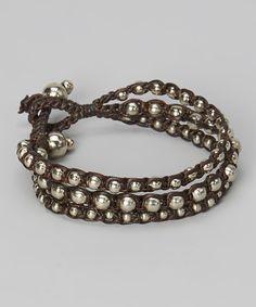 Brown & Silver Bead Rope Bracelet