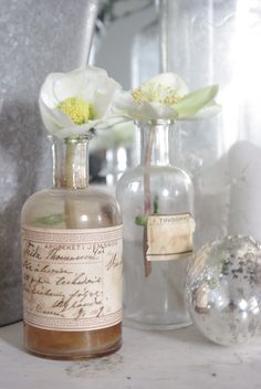 vintage bottles as vases