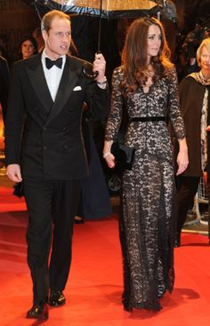 Kate Middleton wears black lace over a nude underlay from Temperley London for the 'War Horse' Premiere