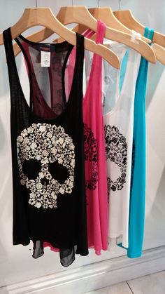 Floral Skull Shirts over my sports bras.