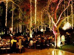 hanging lights, wedding receptions, dance floors, tree, dream, string lights, outdoor weddings, reception lighting, outdoor receptions