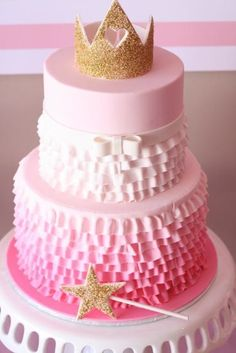 Pinkalicious princess pink and gold birthday party ruffle ombre cake