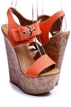 Orange Fabric - Cork Platforms $16.99