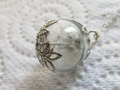 Dandelion Necklace Dandelion Seeds Botanical by WishesontheWind, £13.00