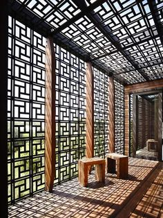 pattern screen, interior, geometr pattern, beach houses, blairgowri hous, patterned screens, house architecture, courtyard, screen pattern