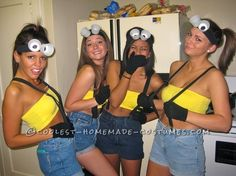 Despicable Me Minions! Cute! Exchange bandue's for yellow tank, buy suspenders, make Styrofoam cup glasses and boo awesome costume. You can also add Gru (pointy nose, striped scarf, black clothes), for any guys in your group.