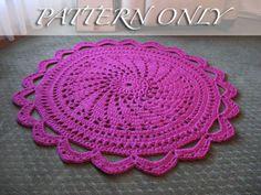 PATTERN ONLY  Crochet Rug  Raspberry Sorbet  by MissyDDesigns, $6.00