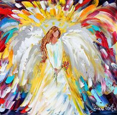 Original oil ANGEL PALETTE KNiFE painting by Karen