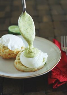 Jalapeno Cheddar Eggs Benedict with Cilantro-Lime Hollandaise