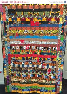 HOLIDAY SALE Be Amazing 45 x 63 inch African by OVBrantleyQuilts, $480.00