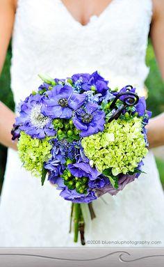 Blue & green wedding flowers