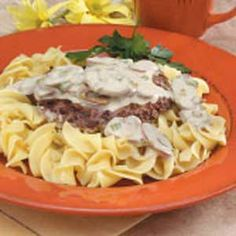 Cubed Steak Stroganoff Recipe  2 tablespoons all-purpose flour 1/4 teaspoon salt 2 beef cubed steaks (6 ounces each) 1 to 2 tablespoons canola oil 1 can (4 ounces) mushroom stems and pieces, drained 3 green onions, thinly sliced 2/3 cup water 1 teaspoon beef bouillon granules 1/8 teaspoon pepper 7 to 8 tablespoons sour cream Hot cooked egg noodles
