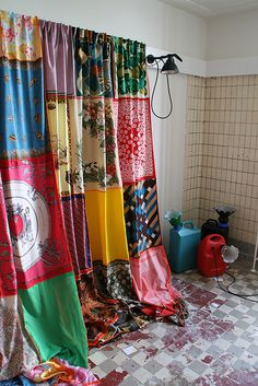 #patchwork #curtain made from #scarves LOVE this for our guest bathroom. doing it!!