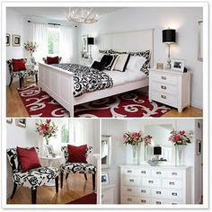 decor, guest room, antler, colors, master bedrooms, white bedrooms, rugs, black white red, red black