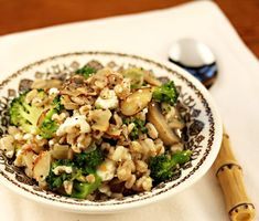 Farro with mushrooms, broccoli, almonds and feta, from The Perfect Pantry.