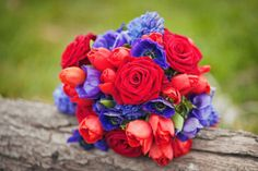 red and purple wedding bouquet