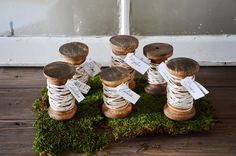 vintage inspired wooden spool name place cards! $30