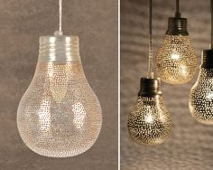 hand-drilled light fixtures create interesting patterns of light - from Tokens of Living