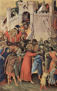 Simone Martini (1284 -1344) De Kruisdraging (1335) Tempera op hout 30 x 20,5 cm - Het Louvre