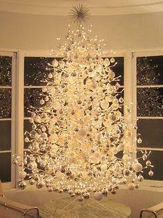lights, white christmas trees, xmas trees, silver christmas, christmas tree ideas, christmas tree decorations, christma tree, holidays, christmas decorating ideas
