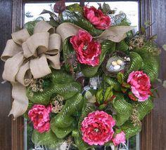 Deco Mesh BURLAP and FLOWERS SUMMER Wreath by decoglitz on Etsy, $135.00