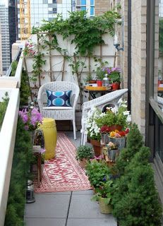 Simple Balcony Ideas - love the small corner space idea, especially the privacy screen.