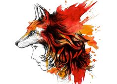 Ive been looking for a fox image because my grandfather had a fox tattoo. I like this without the female face. Foxi Ladi, Shirt Design, Art, Inspir, Ladi Fox, T Shirts, Tattoo, Foxes, Illustr