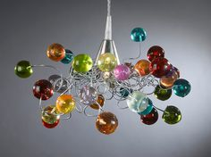 "Gorgeous pendent light artwork ""colorful jumpy bubbles"""