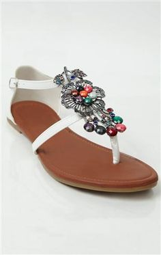 Deb Shops flat #sandal with colorful #flower accent $12.99