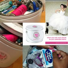 Wedtin  Bridal Emergency Kit on Etsy, over 35 items included. Ready-made, save your time and buy one, give one. Great Bridal Shower gift. $52.95