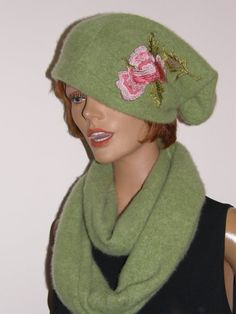lime green felt Slouch hat with matching infinity scarf  , upcycled pure cashmere