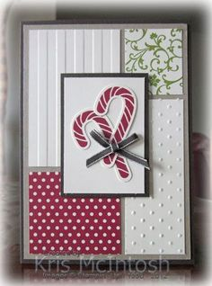 """Sweet """"Candy Canes"""" Christmas Card...using different squares of paper...Kris McIntosh: Stamping with Kris."""