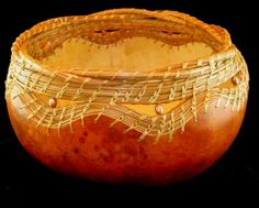Forest Cache Woven Pine Needle and Gourd Bowl by GourdsInCostume