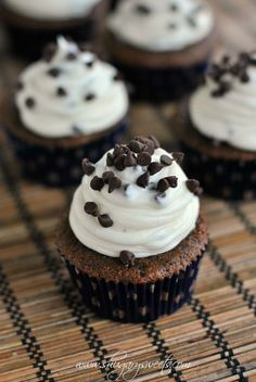 Chocolate Cupcakes with Chocolate Chip Cheesecake Frosting #cupcakes #cupcakeideas #cupcakerecipes #food #yummy #sweet #delicious #cupcake