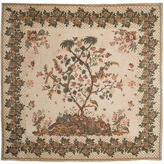 charleston museum, museums, chintz quilt, quilts, trees, flowers, birds, antiqu quilt, tree of life