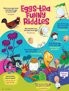 Eggs-tra Funny Egg Jokes from the March 2013 issue of Ranger Rick Magazine egg joke, funni egg