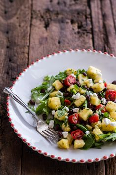 Curried Pineapple Goat Cheese Salad + Fruit Salad with Caribbean Jerk Salmon