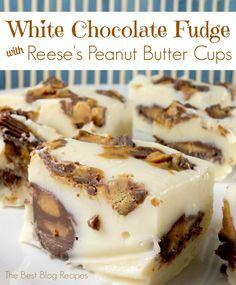 White Chocolate Reese's Peanut Butter Cup Fudge Bites | The Best Blog Recipes  #recipes #fudge