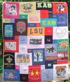 I totally want to make this quilt. I have bins and bins of old teeshirts from high school, cheerleading, and other special occasions that are taking up space in the attic. I don't ever look at them, and who wants to crawl up there just to look at some old tee-shirts. This way they are de-junking my attic and they are getting used and and I can look at them whenever I want!