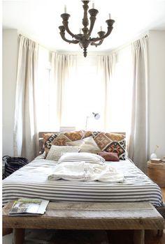 stripe comforter and fun pillows.