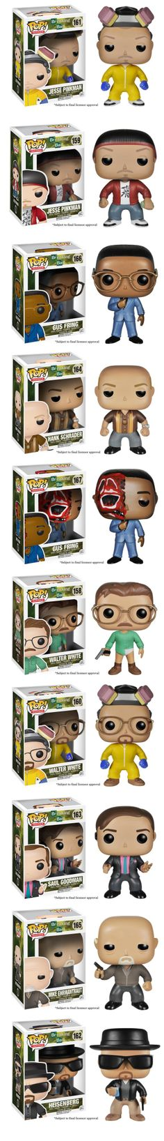 Funko Announces Breaking Bad Pop! Vinyl Figures Breaking Bad is so popular that it was only a matter of time before Funko put their eyes on the blue crystal prize. They've just announced a series of ten Pop! vinyl figures featuring a few versions of Walter White, Jesse Pinkman, Gus Fring, Saul Goodman, and more. They're still waiting on final licensor approval, but the toys will most likely look like the cute versions you see here.