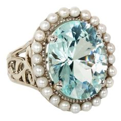 13.88 ct paraiba tourmaline & seed pearl ring by Emma Quist Jewelry