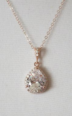 Rose Gold Luxe Cubic Zirconia Teardrop Necklace by ColorMeMissy, $30.00