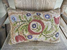 spring flowers, rug hook, hook rug, rughook, flower pillow